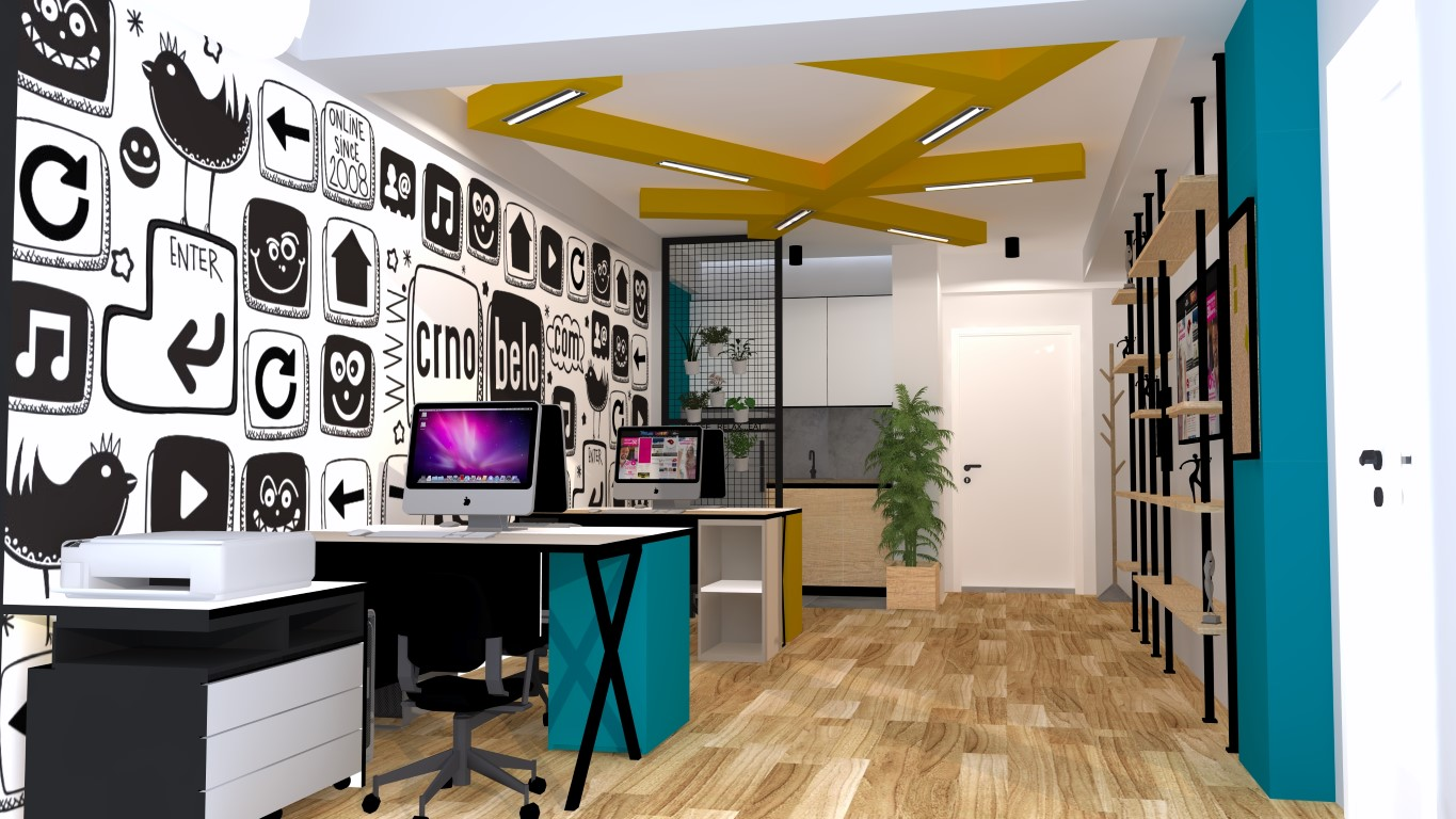 "Interior design of the business premises of ""Crnobelo Media"""